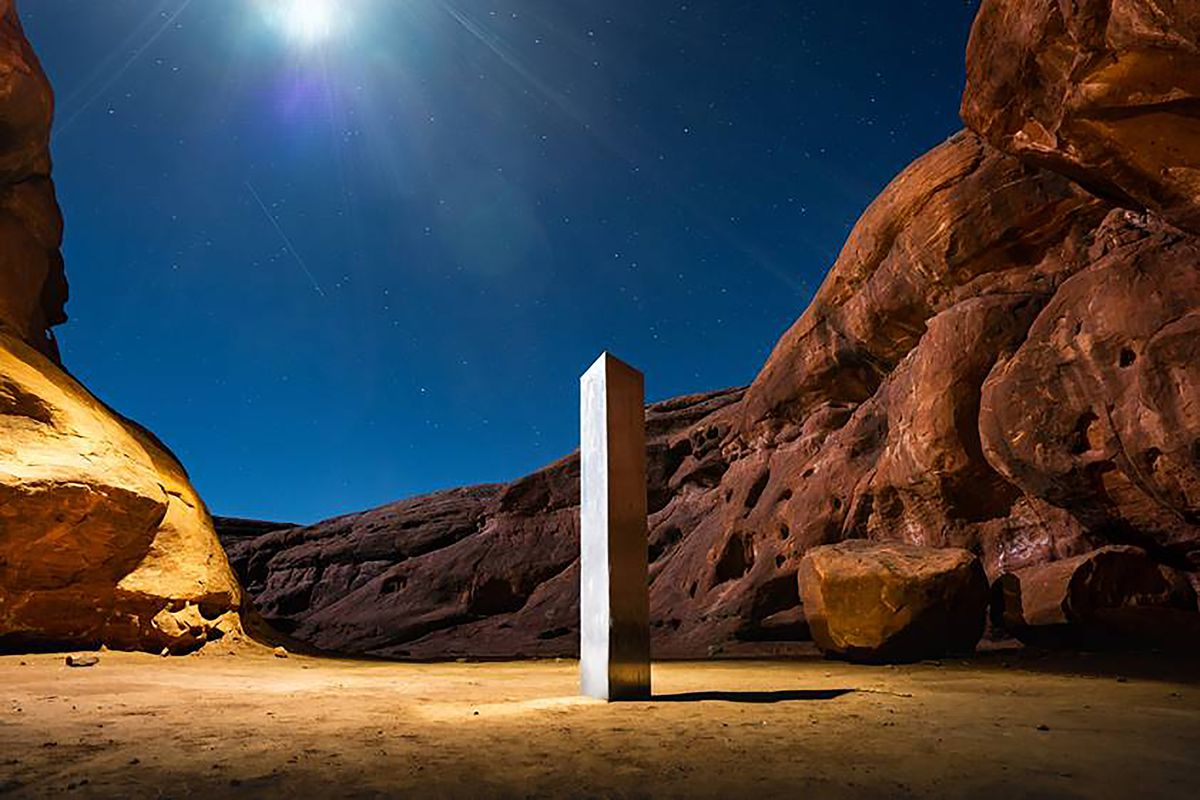 This Nov. 27, 2020 photo by Terrance Siemon shows a monolith that was placed in a red-rock desert in an undisclosed location in San Juan County southeastern Utah.