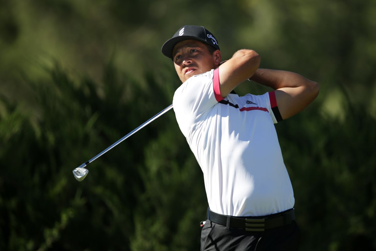 Xander Schauffele of the United States plays his shot from the fifth tee during the second round of the CJ Cup @ Shadow Creek on October 16, 2020 in Las Vegas, Nevada.