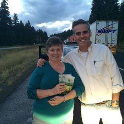 Jason Wright and Linda Sledd on I-90 in Snoqualmie Pass, Washington.