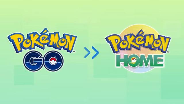 The Pokémon Go and Pokémon Home logos, with an arrow between them