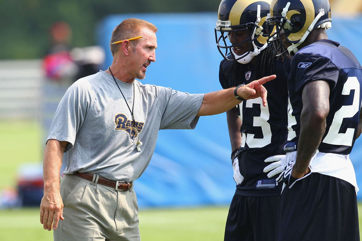 Head coach Steve Spagnuolo of the St. Louis Rams instructs teammates Jerome Murphy.