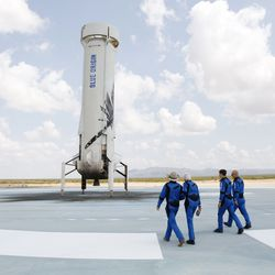 Blue Origin's NS-16 crew walks on New Shepard's landing pad hours after launching to and returning from the edge of space.