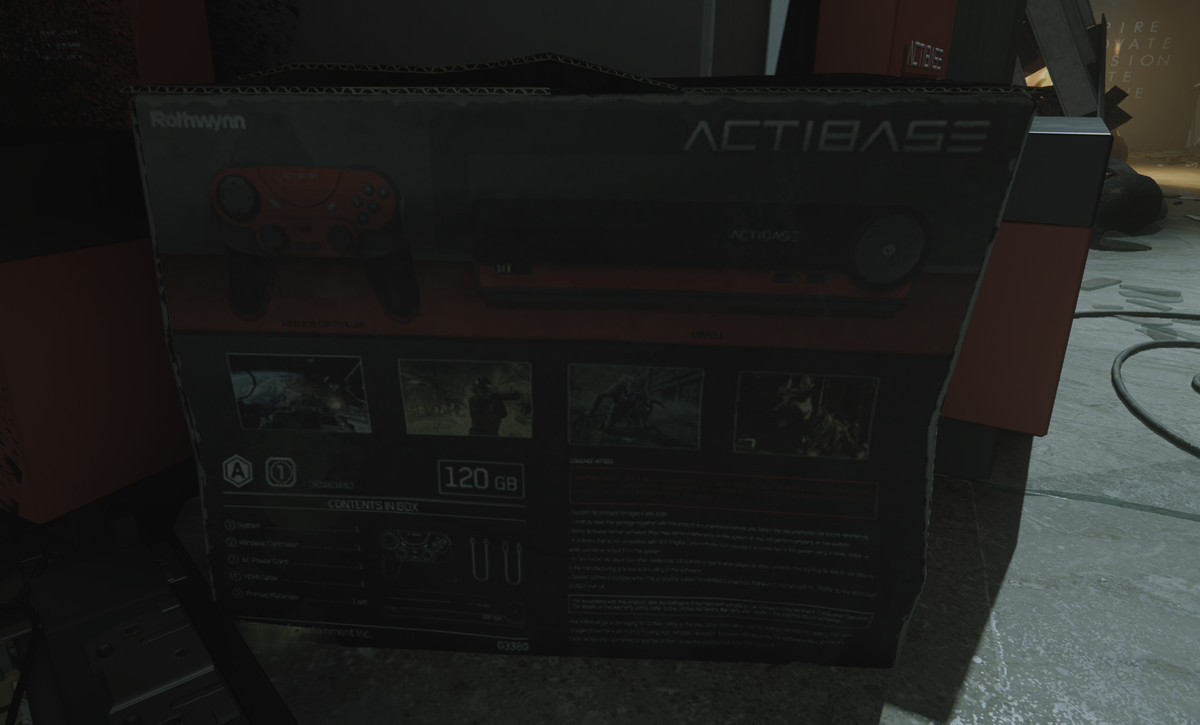 "A shot-up kiosk of a fictitious ""Actibase"" console in Call of Duty: Modern Warfare"