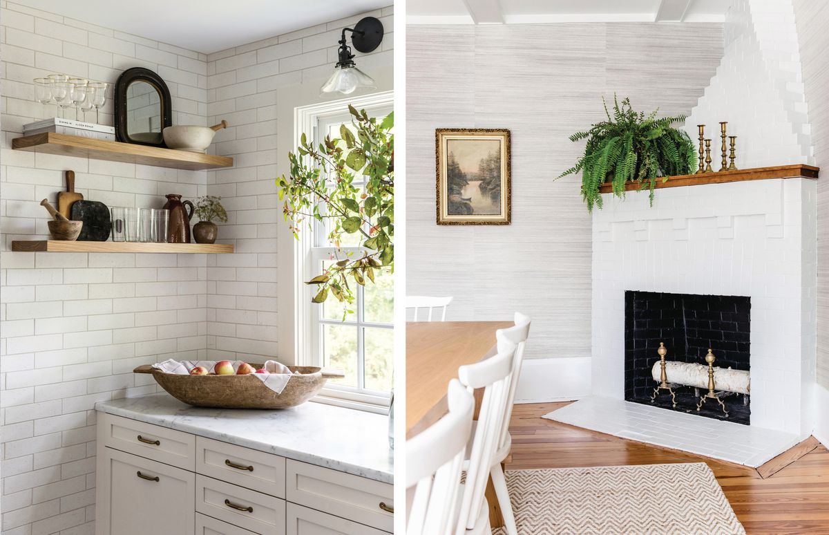 Summer 2021 House Tour, kitchen floating shelves, dining room fireplace