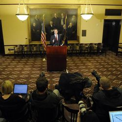 Utah Attorney General John Swallow announces his resignation during a press conference at the Capitol in Salt Lake City on Thursday, Nov. 21, 2013.