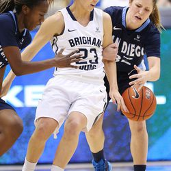 Brigham Young Cougars guard Makenzi Morrison Pulsipher (23) is defended by San Diego Toreros guard Cori Woodward (32) in Provo Thursday, Feb. 18, 2016.