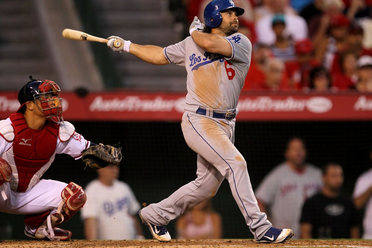 ANAHEIM, CA - JULY 1:  Aaron Miles #6 of the Los Angeles Dodgers hits an RBI single in the third inning against the Los Angeles Angels of Anaheim on July 1, 2011 at Angel Stadium in Anaheim, California.   (Photo by Stephen Dunn/Getty Images)