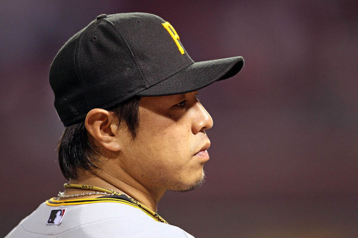 0389ed590d7 CINCINNATI - MAY 26: Akinori Iwamura #3 of the Pittsburgh Pirates is  pictured during the game against the Cincinnati Reds at Great American Ball  Park on May ...