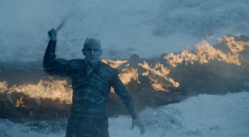 The Night King throws the spear