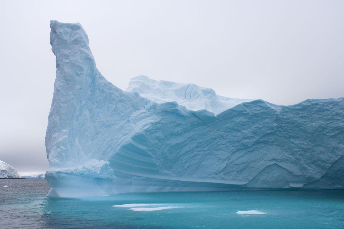 Iceberg floating off the western Antarctic peninsula, Antarctica, Southern Ocean.