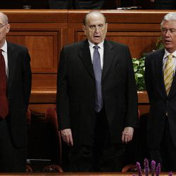 Presidents Thomas S. Monson, Henry Eyring and Dieter Uchtdorf  sing a congregational hymn during the 182nd Annual General Conference for The Church of Jesus Christ of Latter-day Saints in Salt Lake City  Saturday, March 31, 2012.