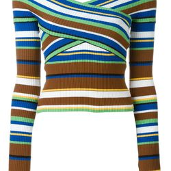 Kloss's look won't be available to shop until fall — but this sporty striped sweater offers a likeminded vibe.