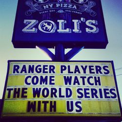 <em>After the Rangers failed to make it to the playoffs last season, Zoli's kindly invited them over for pizza.</em>