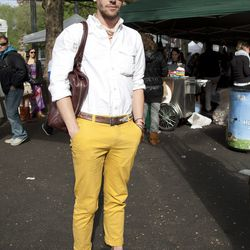 Jeffrey is wearing a Bull Ridge shirt, thrifted pants, a vintage belt, and Yves Saint Laurent sunglasses. His bag is Simon Spurr and his shoes are Heutchy.