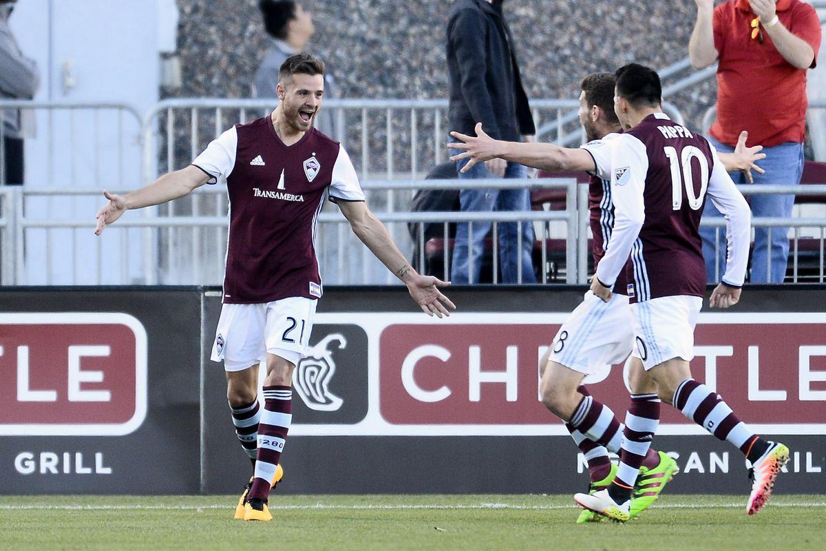 Luis Solignac celebrates after his goal.