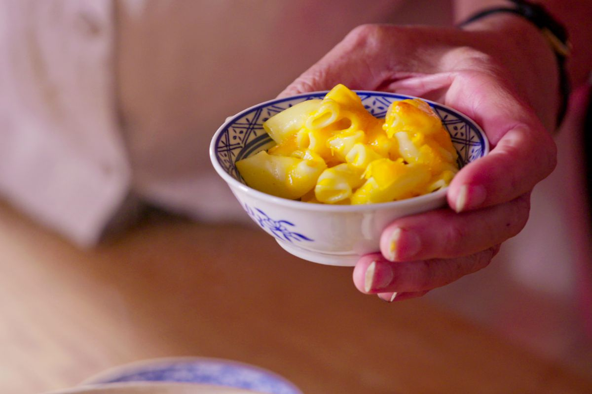 A mac and cheese photo from Netflix's High On The Hog food series