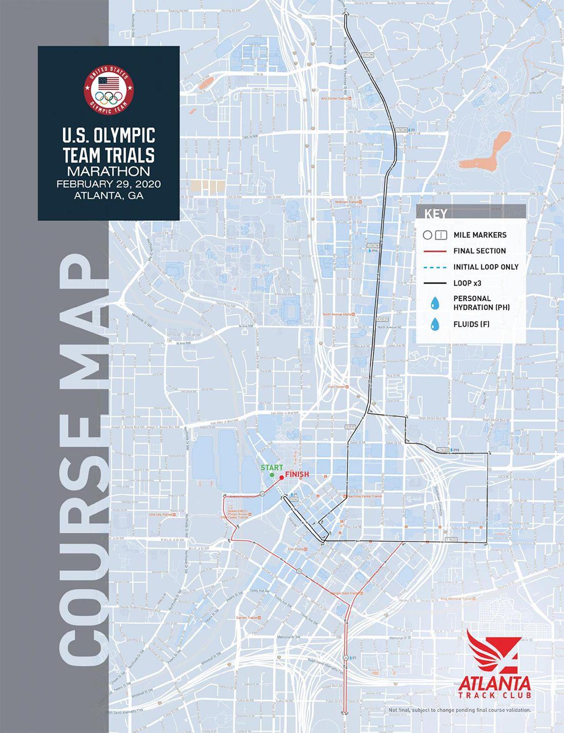 A larger copy of the map above shows how the route will run for miles up Peachtree Street.
