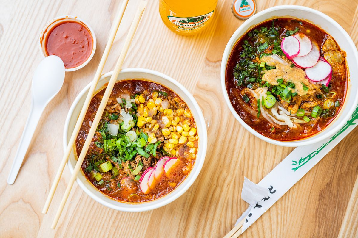 Little Miner Taco's birria ramen that uses beef consomé as a broth base for egg ramen noodles, slow-roasted pork, and veggies such as radish, corn, and cilantro.