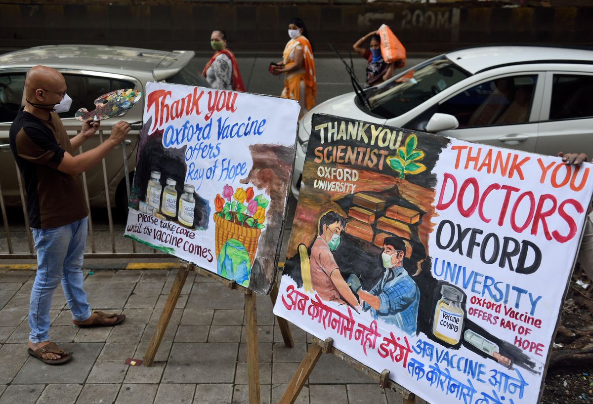Members of Gurukul congratulate Oxford University through painting at Lower Parel after COVID-19: Oxford vaccine successful in early human trials