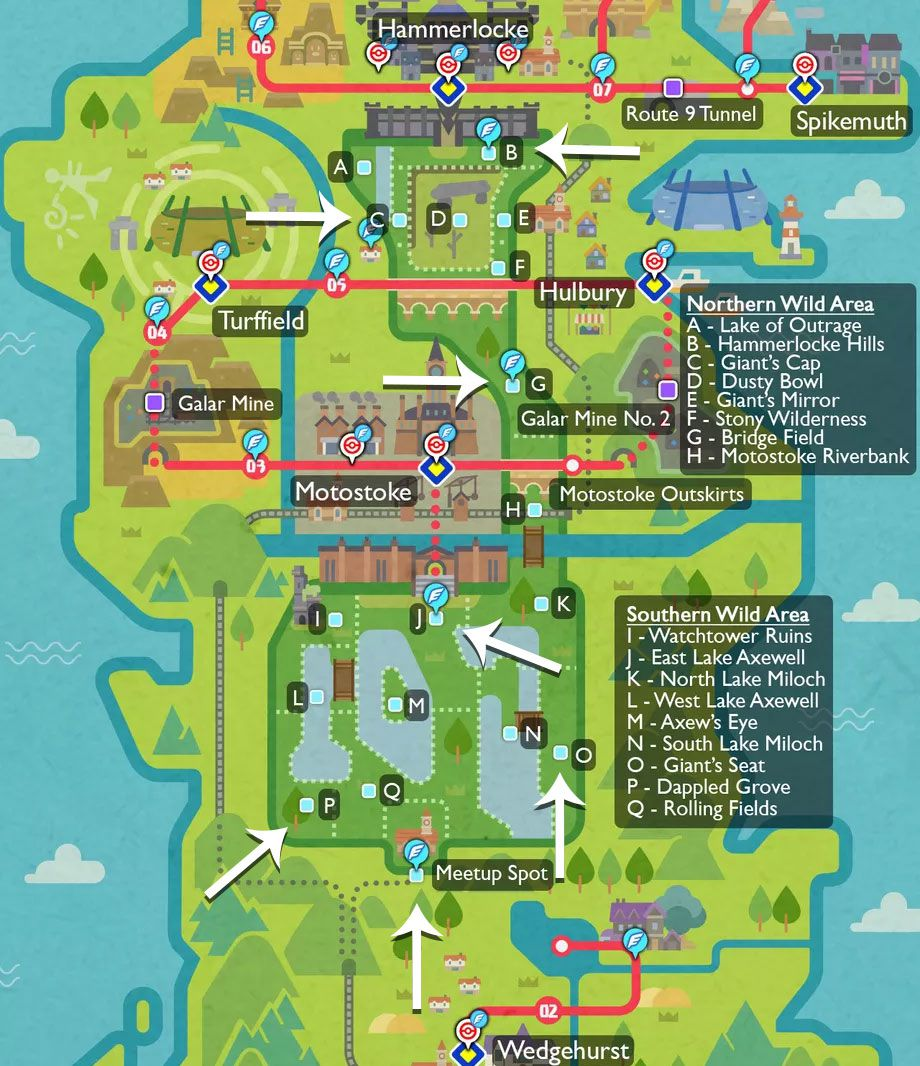 Pokémon Sword and Shield Watt Trader locations highlighted on a map with arrows