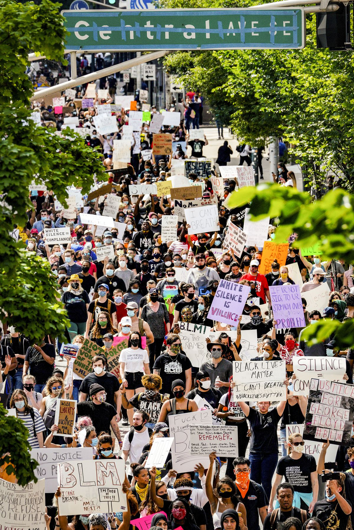 """On a tree lined street, a crowd so dense it looks like a river of people. Most have on masks, and most carry signs raised above their heads, with messages like """"White silence is violence,"""" BLM!,"""" """"Riots are the language of the unheard,"""" and """"I can't breathe."""""""