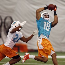 Jul 22, 2013; Davie, FL, USA; Miami Dolphins wide receiver Rishard Matthews (18) catches a pass over cornerback Dimitri Patterson (24) during  training camp at the Doctors Hospital Training Facility at Nova Southeastern University.