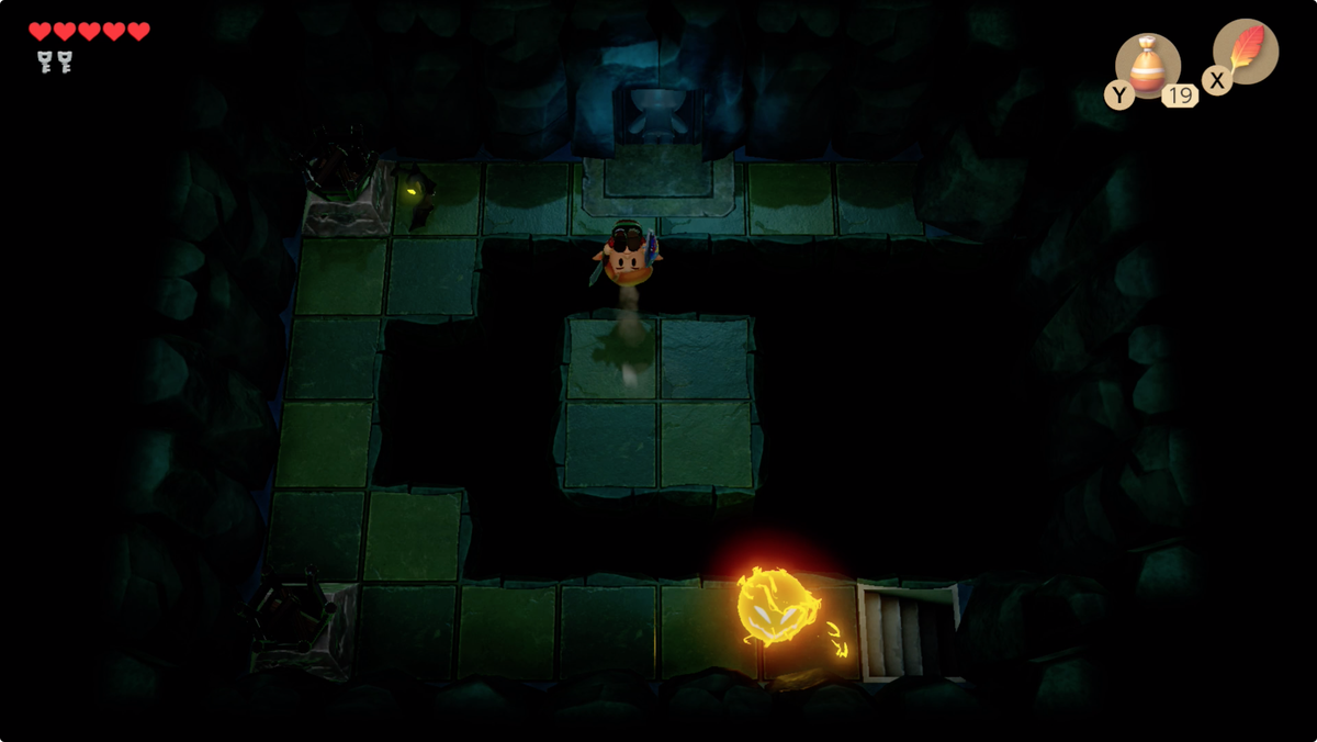 Link's Awakening Bottle Grotto jumping gaps in a dark room to reach the Hinox mini-boss fight