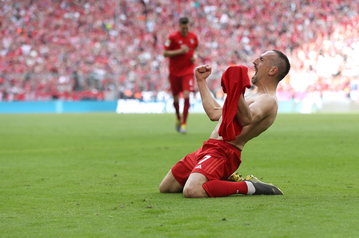 MUNICH, GERMANY - MAY 18: Franck Ribery (C) of FC Bayern celebrates his goal during the Bundesliga match between FC Bayern Muenchen and Eintracht Frankfurt at Allianz Arena on May 18, 2019 in Munich, Germany.