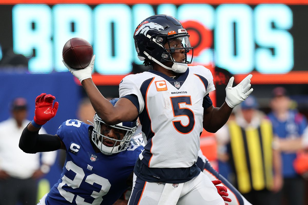 Teddy Bridgewater #5 of the Denver Broncos throws a pass against the New York Giants during the second half at MetLife Stadium on September 12, 2021 in East Rutherford, New Jersey.
