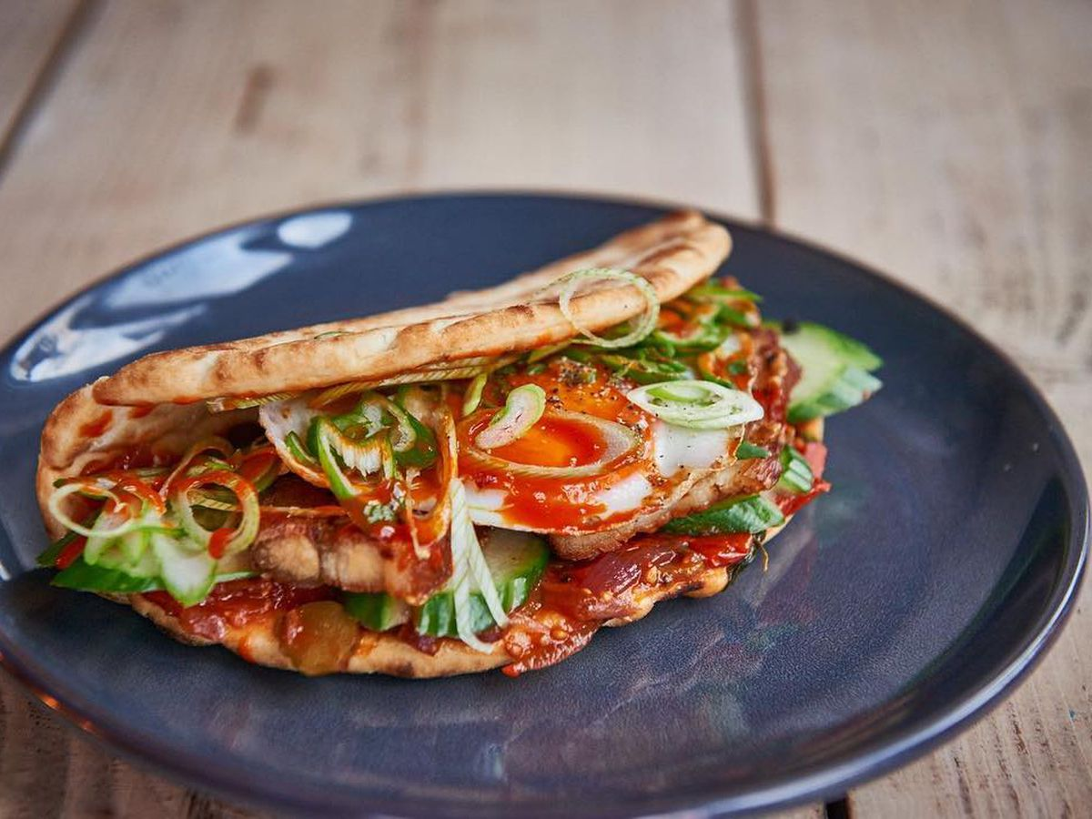 Best bacon sandwiches and breakfast in London: breakfast pita at Brother Marcus