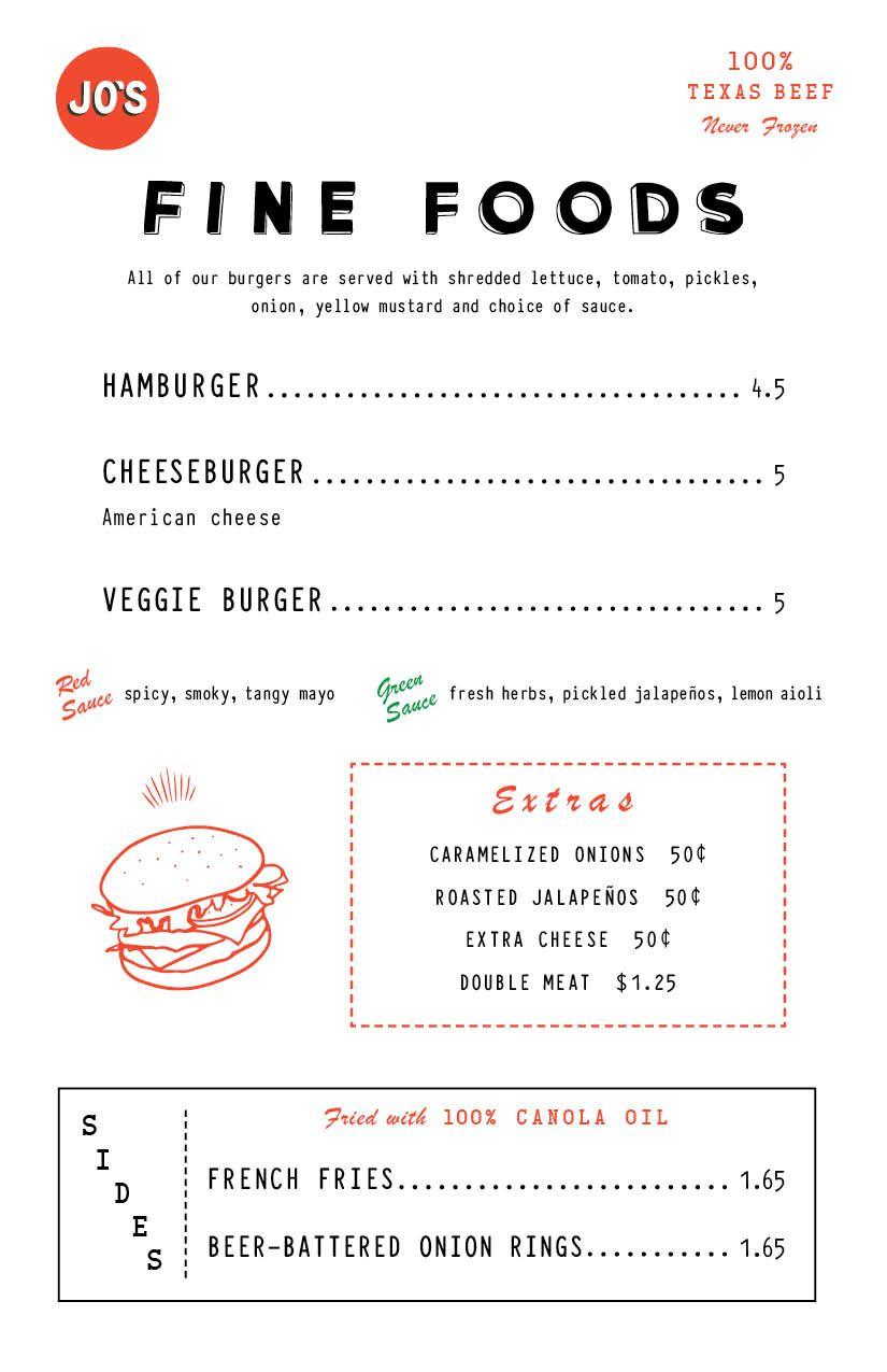 Jo's Burger Box menu