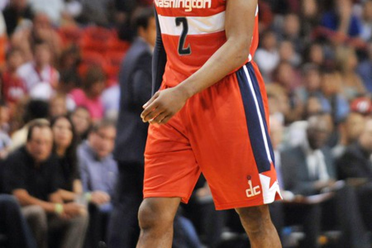April 21, 2012; Miami, FL, USA; Washington Wizards point guard John Wall (2) during the second half against he Miami Heat at American Airlines Arena. Mandatory Credit: Steve Mitchell-US PRESSWIRE