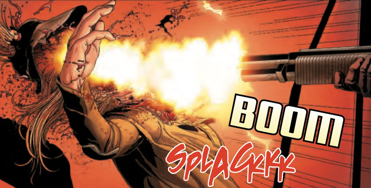 A panel of a person taking a shotgun blast to the face, in an explosion of fire and blood. Sound effects: BOOM, SPLACKKK. In Alien #1, Marvel Comics (2021).