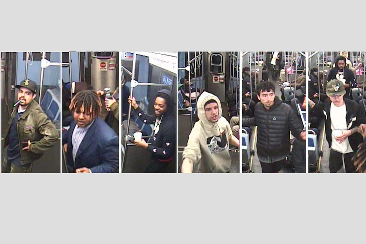 Surveillance photos of six men who allegedly attacked and robbed a person sleeping on a Red Line train last month.