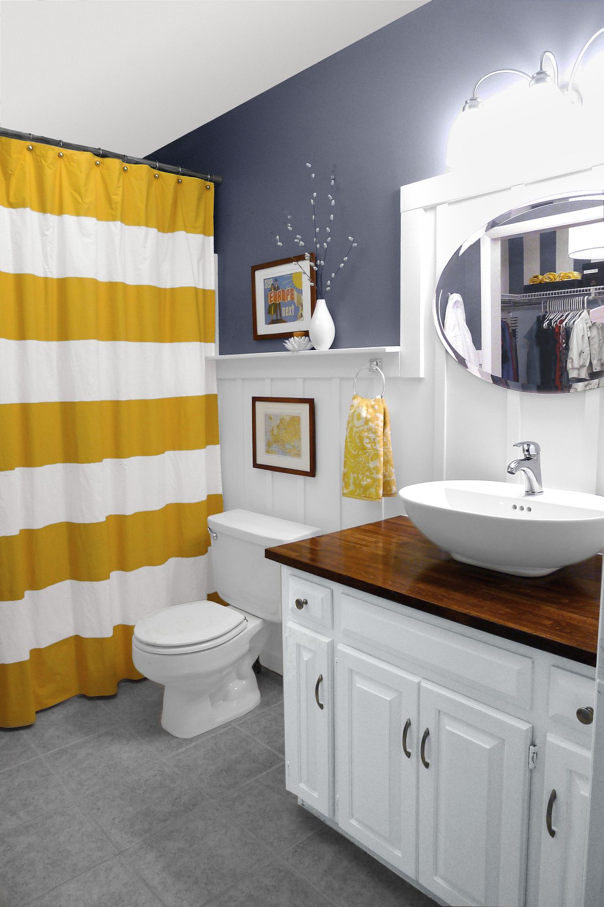 Wainscoting used in small bathroom remodel.
