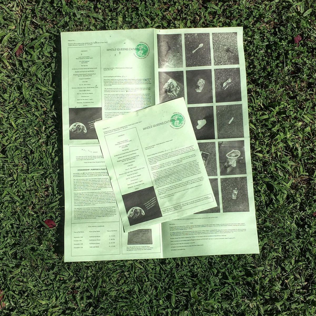 A light green page with photos and a smaller piece of green paper on top.
