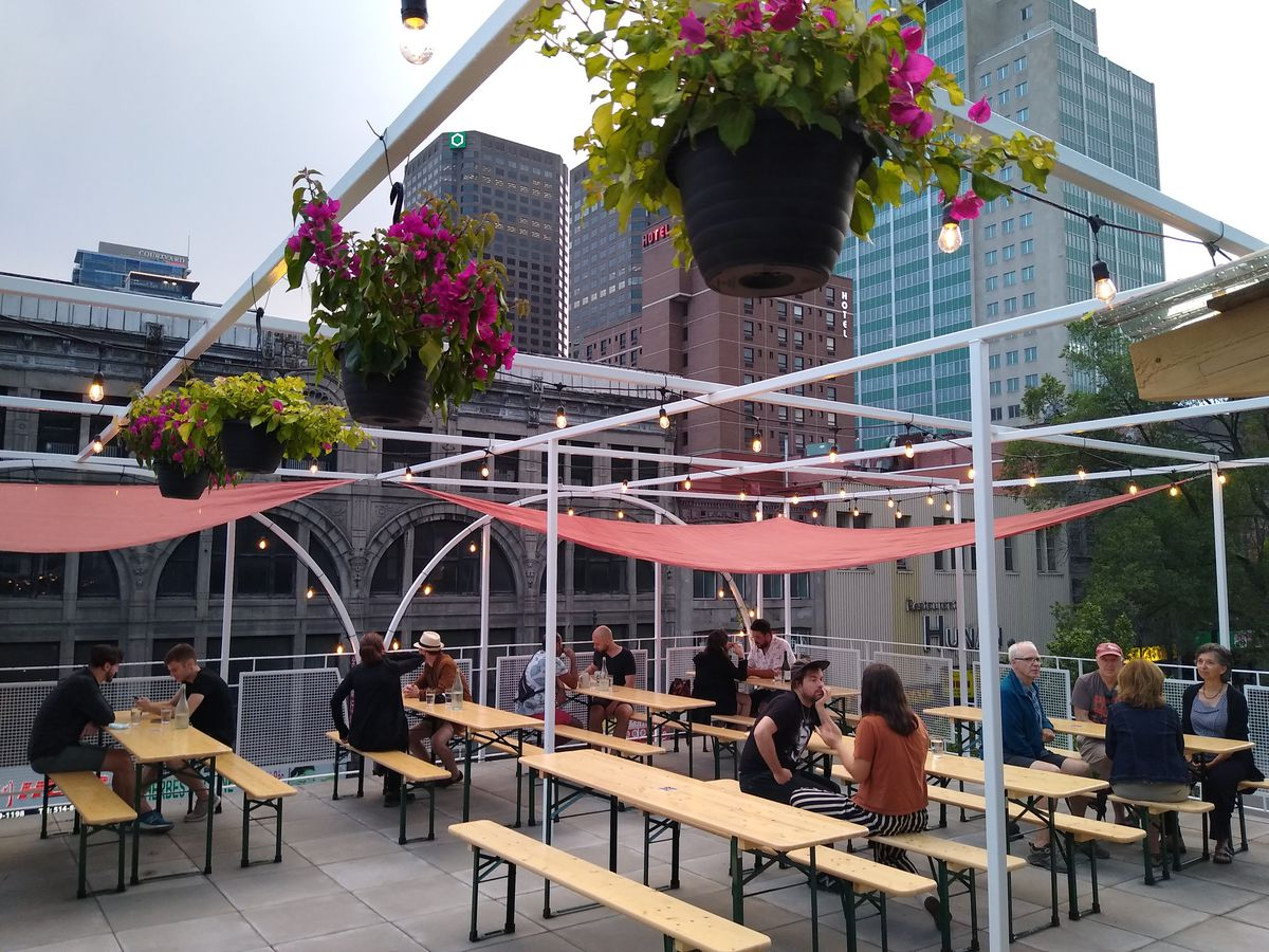 bar patio with wood tables