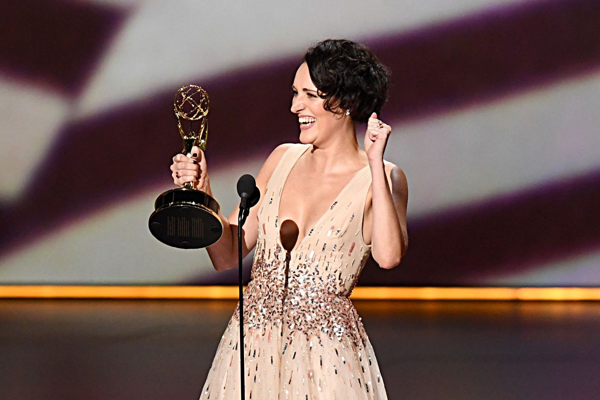 Phoebe Waller-Bridge of Fleabag accepts the Emmy for Outstanding Writing for a Comedy Series.