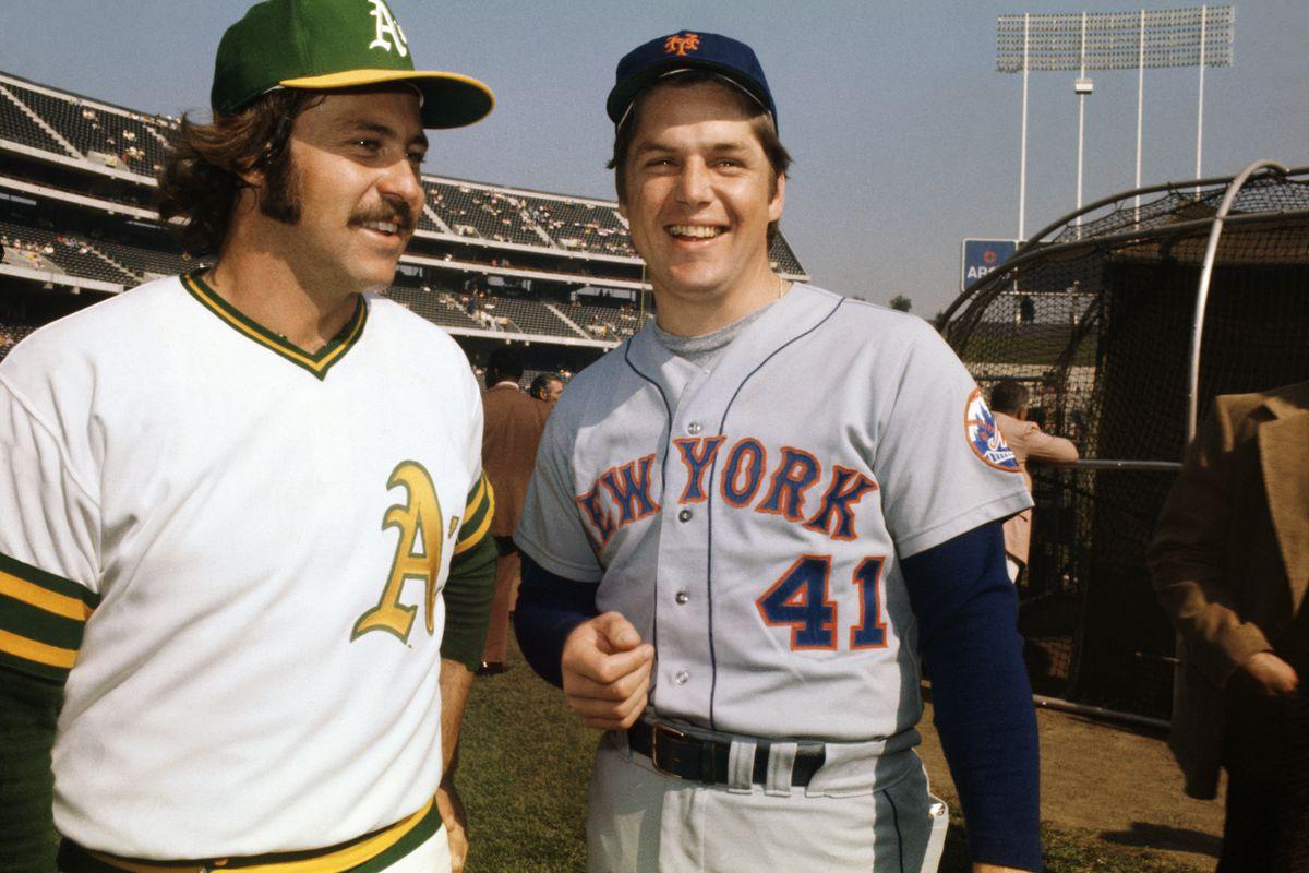 "James ""Catfish"" Hunter and Tom Seaver on Baseball Field"