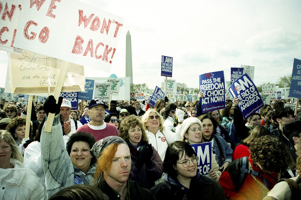 Thousands of demonstrators gathered for the March for Women's Lives, sponsored by the National Organization for Women (NOW), in Washington DC, on April 5, 1992.