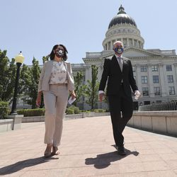 State Sen. Deidre Henderson, R-Spanish Fork and GOP nominee for lieutenant governor, left, and running mate Lt. Gov. Spencer Cox are pictured outside of the Capitol in Salt Lake City on Tuesday, July 7, 2020.On Monday, Cox and Henderson were declared the winners in the GOP gubernatorial primary.
