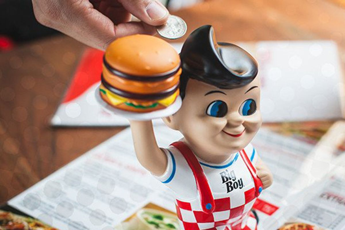 A coin bank at an iconic Big Boy diner.
