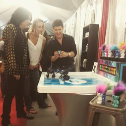 """Kiss guitarist Paul Stanley was quite amused by these Miposaur dino robots by toy company <a href=""""http://www.wowwee.com/"""" target=""""_blank"""">Wowwee</a>."""