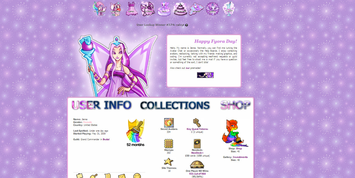A custom profile page in Neopets.