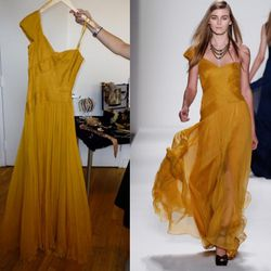 One-Shoulder Gown in Marigold, $808