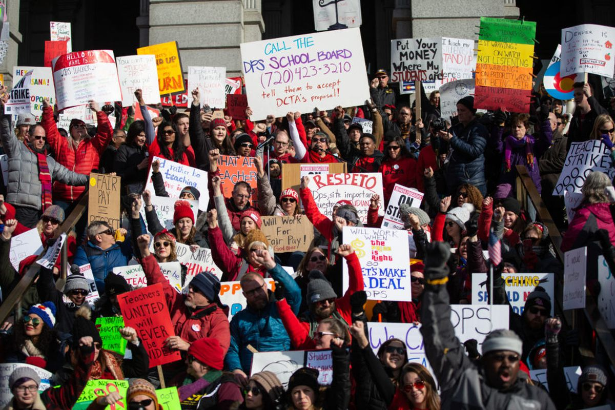 Teachers rally at the Colorado State Capitol on the first day of the Denver teacher strike.