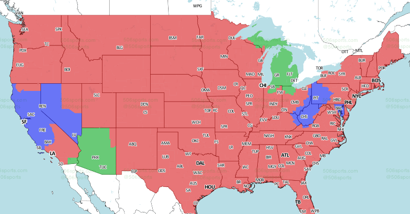 Eagles vs. Cowboys game TV coverage map