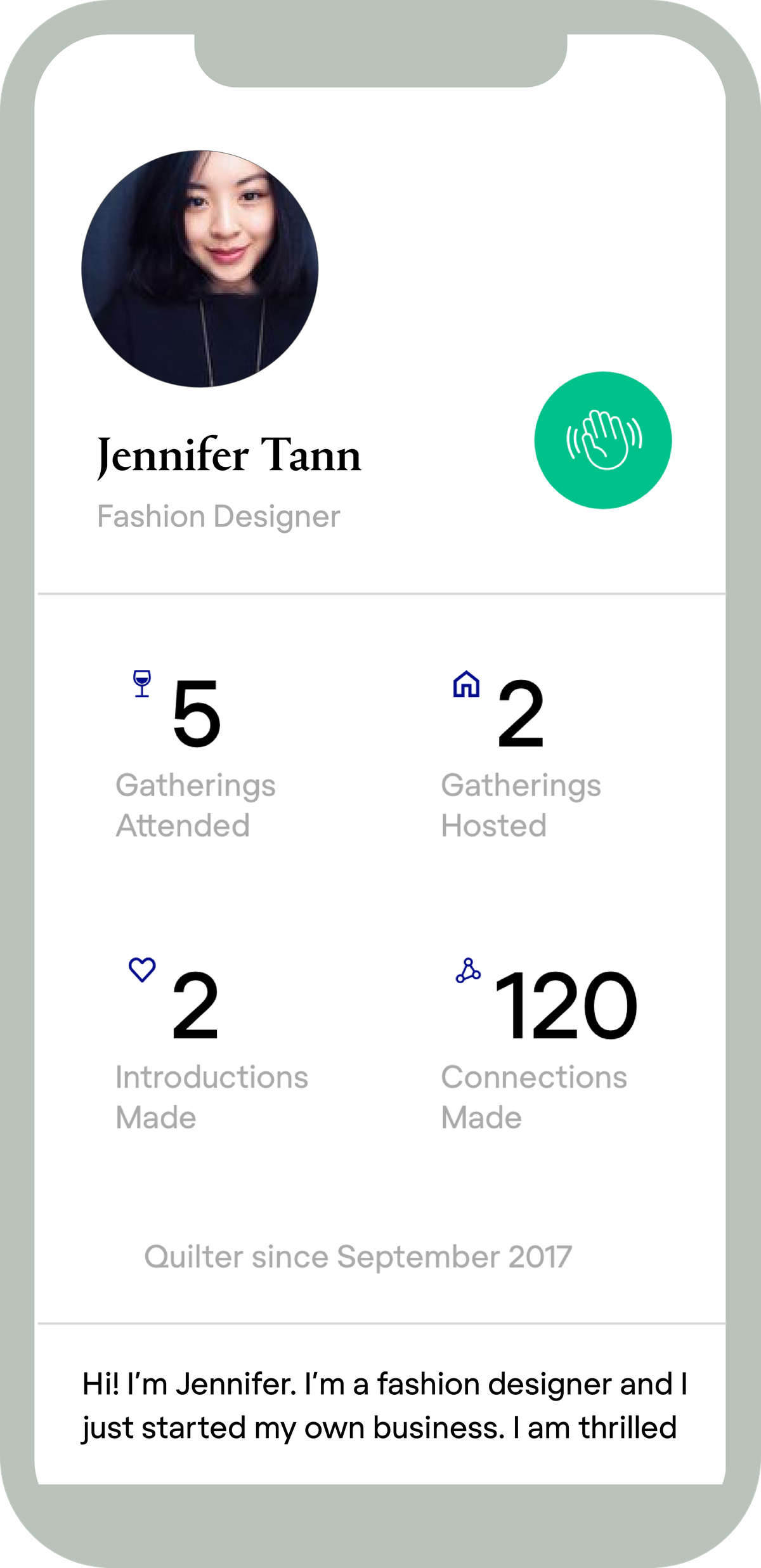 The minimalist design of the Quilt app is meant to make it easier to quickly find events and connect with other members.