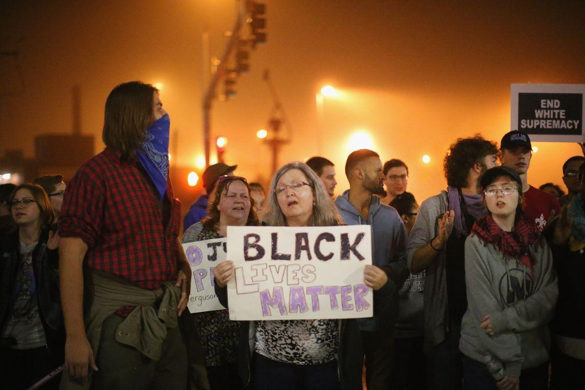 Demonstrators in St. Louis and Ferguson, Missouri, speak out against racially skewed police shootings.