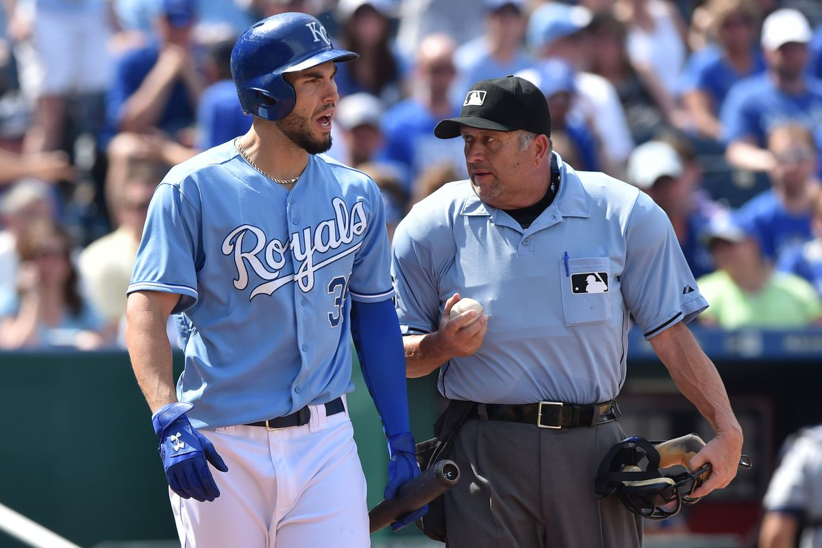 Eric Hosmer of the Kansas City Royals argues a strike call with Dale Scott in May.